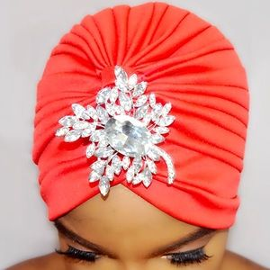 Accessories - Cherry Red Enbrooched Turban