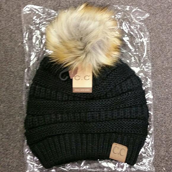 NWT CC Fur Ball Knit Beanie Hat Black 1c6cce5ee9d