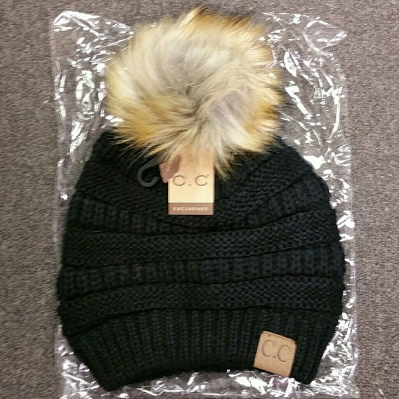 NWT CC Fur Ball Knit Beanie Hat Black 29fc940f9a8