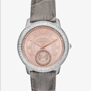 Michael Kors Accessories - MADELYN PAVÉ TWO-TONE AND LEATHER WATCH