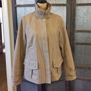 Large wool J.CREW WOOL coaches jacket in tan.