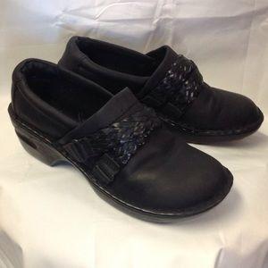 BORN black leather comfy clogs. Size 9