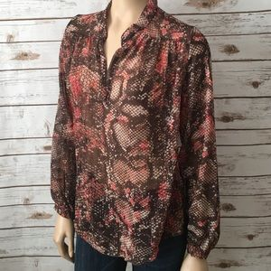 Sweet Pea Tops - Sweet Pea Top Brown Loose Snake Print Split V Neck
