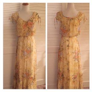Vintage 1970's Prairie Maxi Dress, Festive, Boho