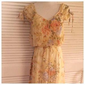 Vintage 1970's Prairie Maxi Dress, Festival