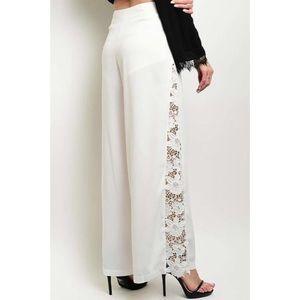  White High Waist Lace Trim Palazzo Leg Pants