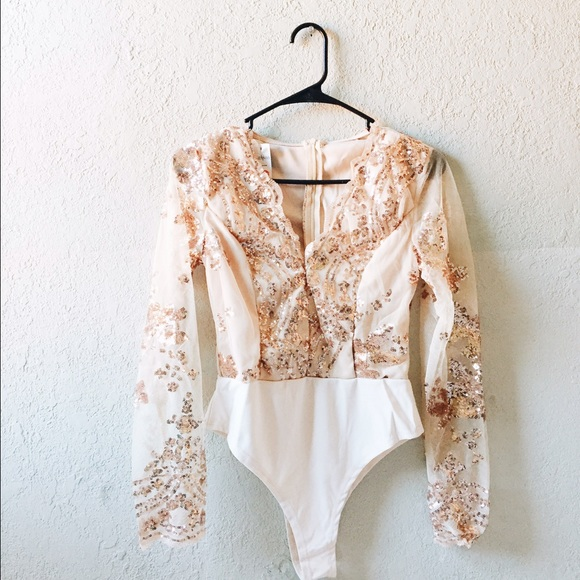 Missguided Tops Rose Gold Sequin Long Sleeve Bodysuit