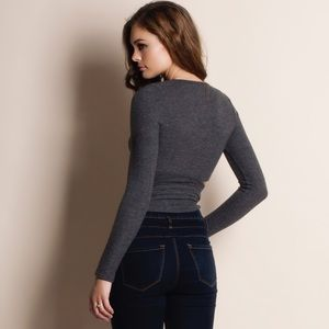 """Bare Anthology Tops - """"First Dawn"""" Wrap Long Sleeve Crop Top"""