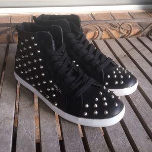 Sugar Orbic Black Spiked High Top Sneakers