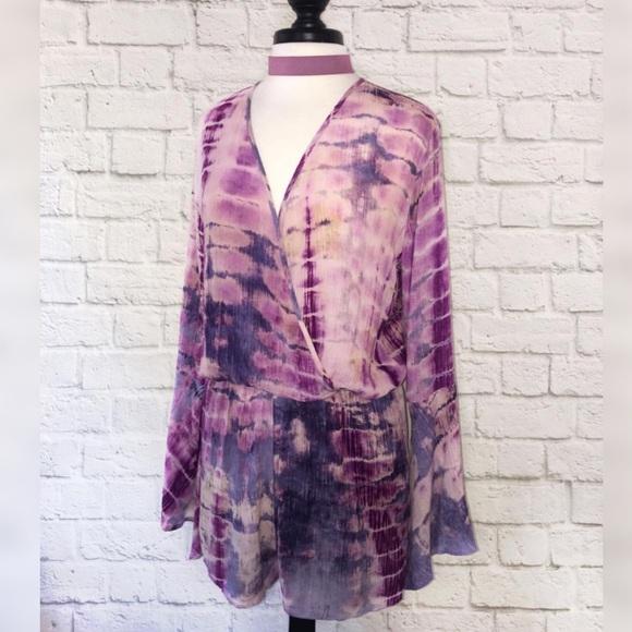 957fd9fc69a NWT Umgee Brand Purple Tie Dye Long Sleeve Romper