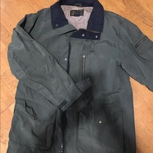 Eddie Bauer Military green with pockets. Repellant
