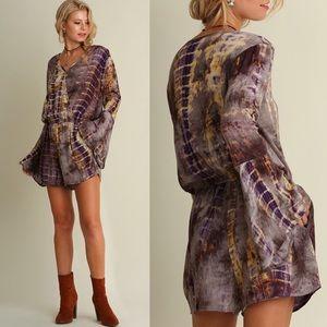 f8b0a54bab9 Umgee Pants - NWT Purple Grey   Gold Tie Dye Long Sleeve Romper