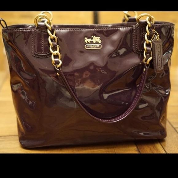 Coach Madison Patent Tote 20484 Aubergine Purple