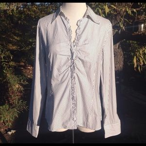 Talbots Tops - NWOT Talbots Black & White Striped Button Down-12