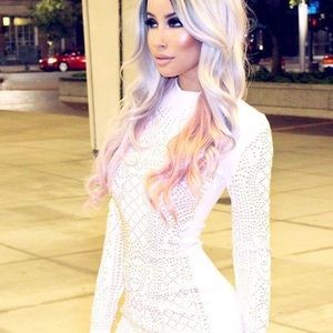 White long sleeve dress with gold details