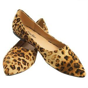 Tory K Shoes - Tory K Women Leopard Flats B-1350 Light Brown