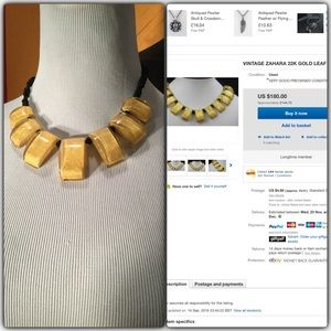 Artisan Jewelry - Stunning Rare 22k Gold Leaf Lucite Bar Necklace
