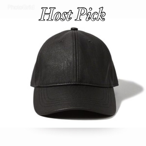 e3e17fc79f7043 Abercrombie & Fitch Accessories - • Black Faux Leather Baseball Cap •