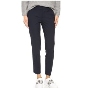 VINCE Women's Blue Stretch Wool Strapping Trousers