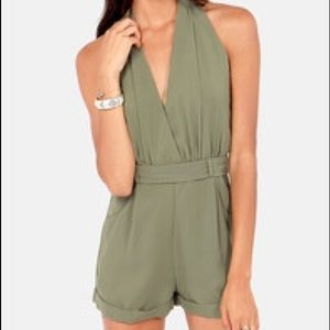 New Open Back Halter Jumper Romper Olive Green M