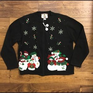 Tiara black snowman ugly Christmas sweater large