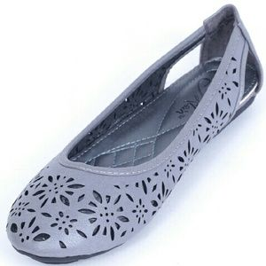 Tory K  Shoes - Tory K Women Perforated Flats b1611, Grey