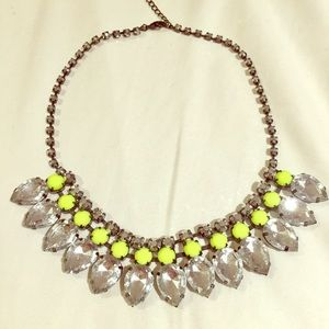 Neon and Rhinestone Glam Statement Necklace