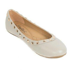 Tory K Shoes - Women Studded Ballerina Flats, b-1616 Beige