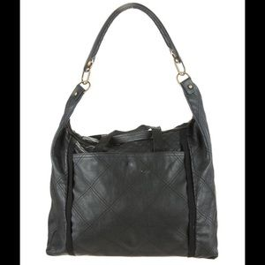Lanvin Handbags - LANVIN Black Leather Quilted Shoulder Tote Bag