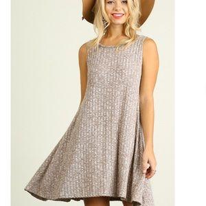 Dresses & Skirts - Sleeveless Knit A Line Dress in Mocha