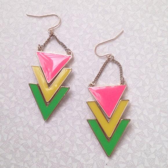 Jewelry - neon yellow green pink triangle earrings