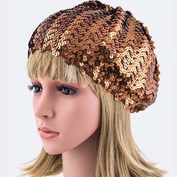 86f8c5201d1e8 Copper sequin bling beanie cap knit sparkle party