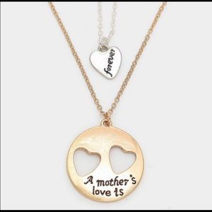 """Farah Jewelry Jewelry - Double Heart Pendant """"A Mother's Love is Forever"""""""