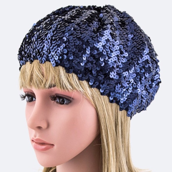 dbceabaf7d3a1 Navy blue beret cap hat sequin bling holiday party