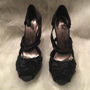 Black satin peep toe ruffled heels