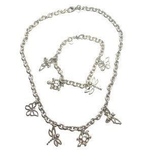 SIVER TONE NECKLACE AND BRACELET SET