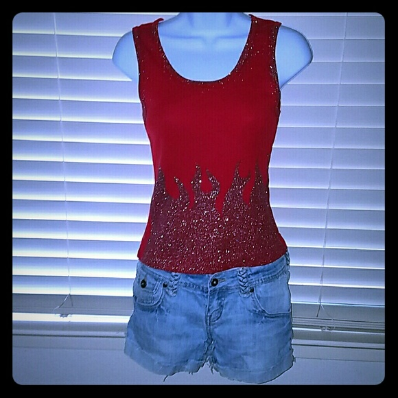 Wet Seal Tops - *Sexy Red Sparkling Flames Tank*