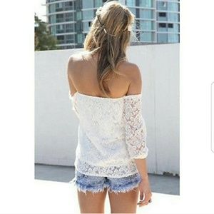 🆑*Off-Shoulder White Lace Top*🆑