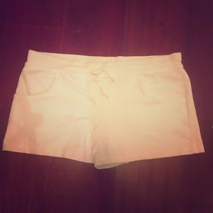 Danskin Now Pants - White cotton drawstring shorts