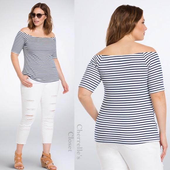 245c4d279ca40b Torrid Striped Off Shoulder Top Plus Size 4X