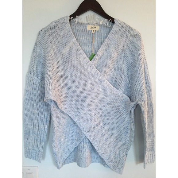 56% off GlamVault Sweaters - NEW❣️Powder Blue Overlap Wrap ...