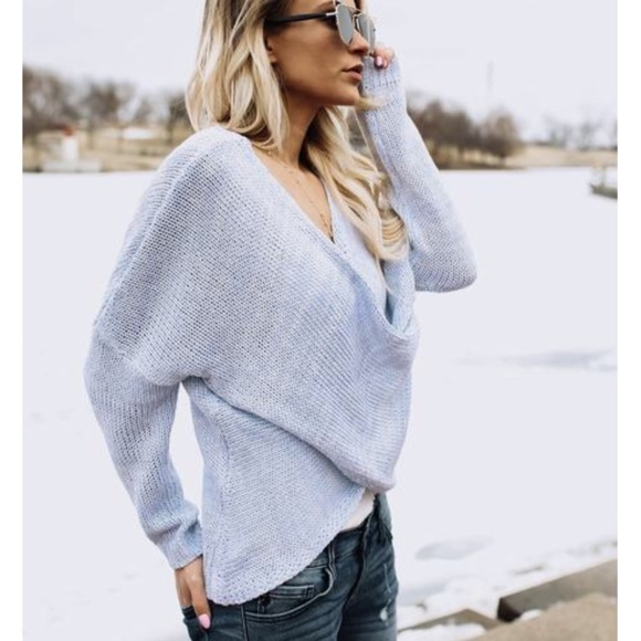 52% off GlamVault Sweaters - Powder Blue Overlap Wrap Sweater from ...
