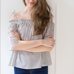 Goodnight Macaroon Tops - Off shoulder striped top.