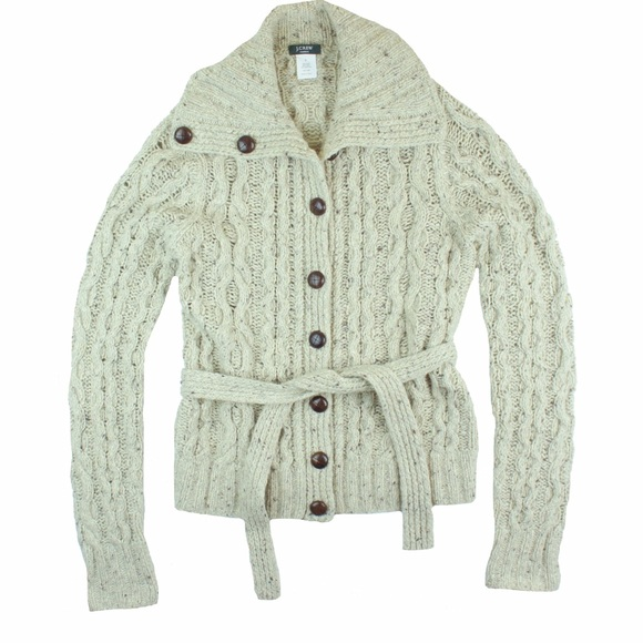 70% off J. Crew Sweaters - JCREW Handknit Cable Knit Belted ...