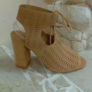 Holiday sale! Suede toffee open cut bootie