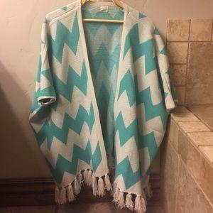 Blue and white poncho jacket