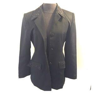 Cache Jackets & Blazers - Cache black beaded accent wool blazer jacket