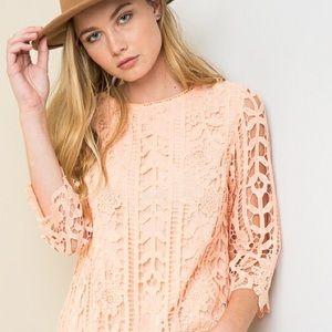 Peach Lace Top