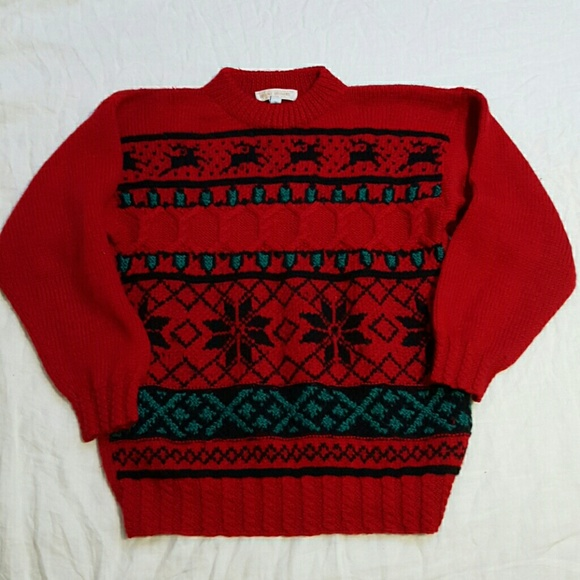 brooks brothers vtg hand knit christmas sweater