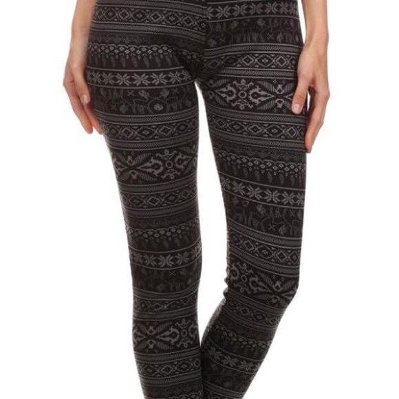 Sale! Thick Black Fair Isle Fur Lined Leggings from ! suggested ...